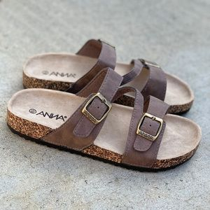 Anna Birkens Double Strap Buckle Brown Sandal